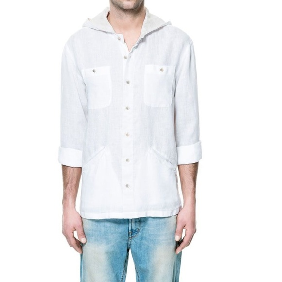 0f6f84b2 Zara hooded linen shirt, Slim Fit, Large Duo Color.  M_5b945ff8c2e9fea321defa0b